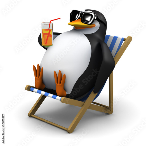 3d Penguin relaxes in his deck chair with a cool glass