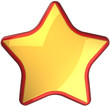 Golden star shape rating symbol with red border. First place