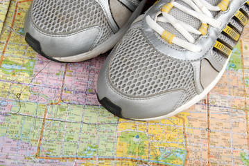 Map and sport shoe
