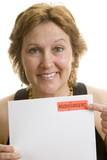 Businesswoman urgent letter reminder poster