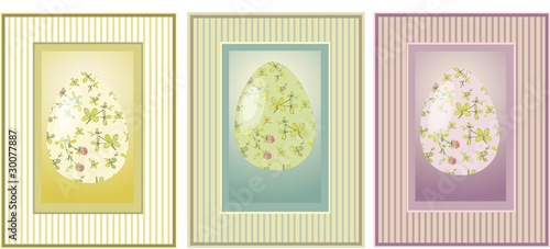 Vintage postcard with Easter eggs. Decorative elements.