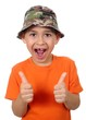 kid missing tooth giving thumbs up sign, isolated