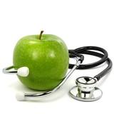 Stethoskop mit Apfel