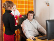 Wife and daughter disturbs  man