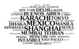 The most populated cities – word cloud