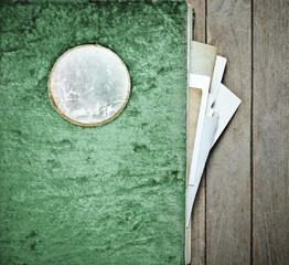 Vintage Photo album plush cover green