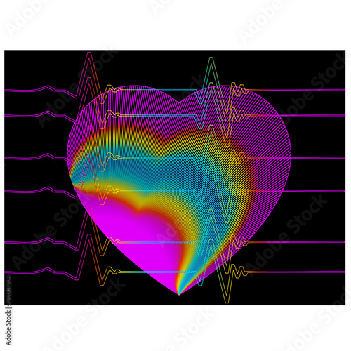 Abstract background heart cardiogram.Vector