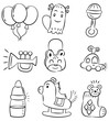 hand draw cartoon baby product icon