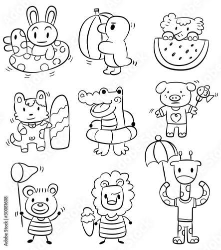 Papiers peints Cartoon draw hand draw cartoon summer animal icon