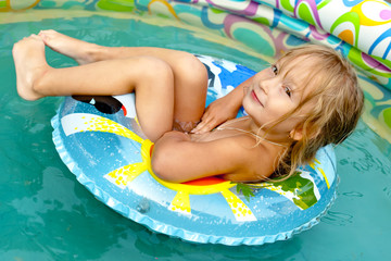 The little girl in pool