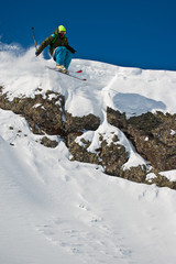 Freerider jumping from the steep