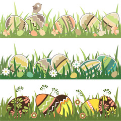 Set of seamless easter borders with grass and eggs