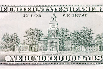 American Hundred dollar banknote isolated over white