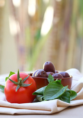 Mediterranean snack food: tomato basil and olives