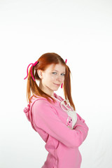 a teenage girl in studio in home wear