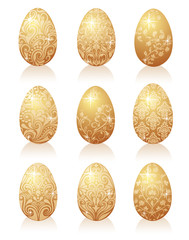 Set of gold eggs.