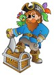 Pirate standing on treasure chest