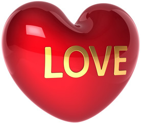 Red heart shape with Love golden word. Romantic Valentine