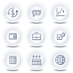 Finance web icons, circle glossy buttons