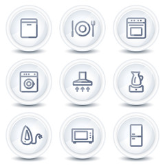 Home appliances web icons, circle glossy buttons