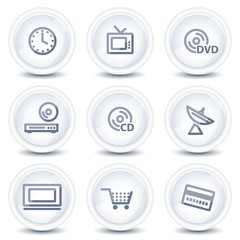 Media web icons, circle glossy buttons