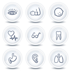 Medicine web icons set 2, circle glossy buttons