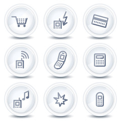 Mobile phone web icons set 1, circle glossy buttons