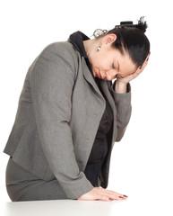 overweight, fat businesswoman suffering from pain, headache