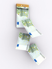 tear-off calendar consisting of euro banknotes