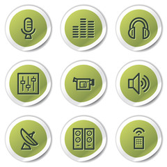 Media web icons, green circle stickers