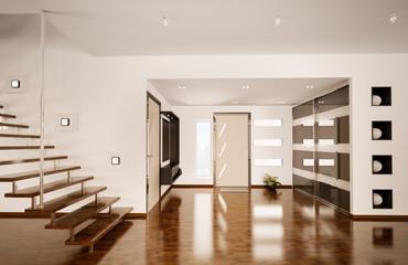 Flur mit der Treppe interior 3d render