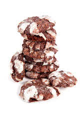 A stack of chocolate cookies isolated on white background