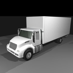 white semi trailer truck 3D isometric