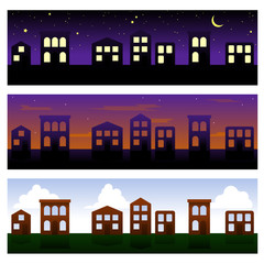 Three townhouse banners