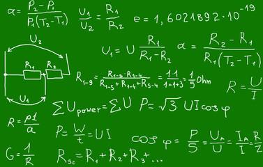 Vector illustration of electric formulas
