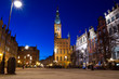 Amazing architecture of old town in Gdansk at night, Poland.