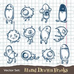 Set of hand drawn freaks