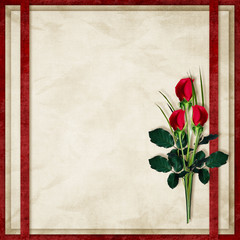 Vintage card for the holiday with red rose on the abstract backg