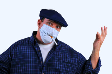 Man in breathing mask confused to smoke or not