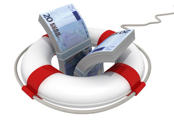 life preserver with euro banknote inside isolated on white