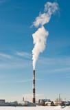 Smokestack over blue sky. Climate warming concept poster