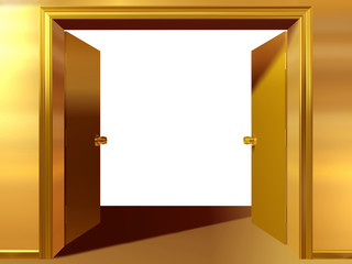 doorframe with open double door in gold
