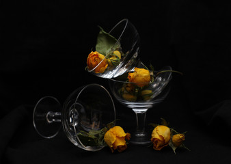 Glass and roses