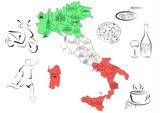 Map of Italy with sights by regions