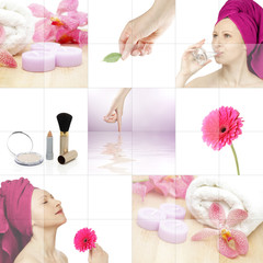 Cosmetics and spa collage