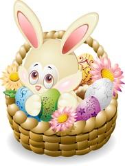 Coniglio Pascqua in Cestino-Easter Rabbit in Basket-Vector