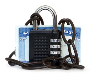 social security card protected by chain and padlock
