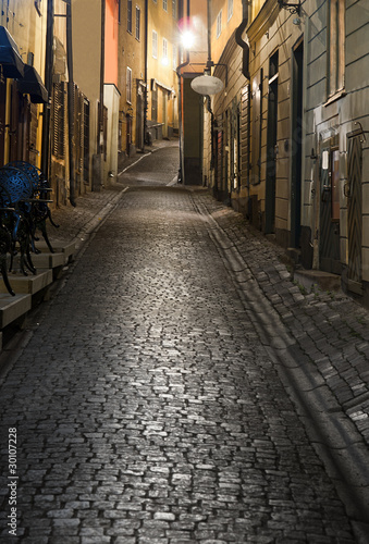 Old town of Stockholm at night - 30107228