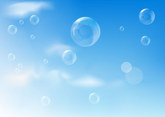 Blue background with realistic bubbles. Vector