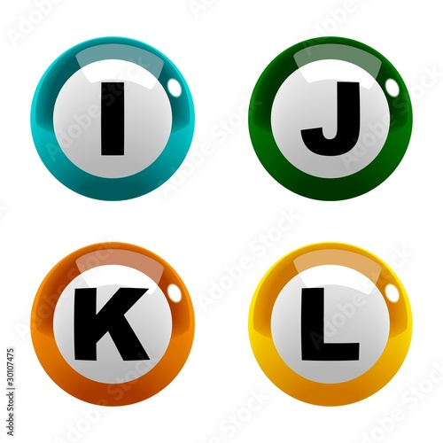 A set of marbles font type, letter I to L